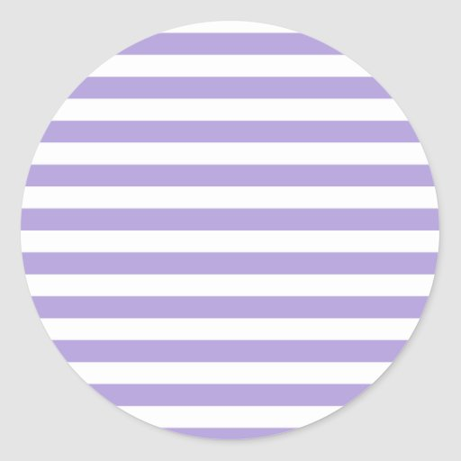 Broad Stripes - White and Light Pastel Purple Round Stickers