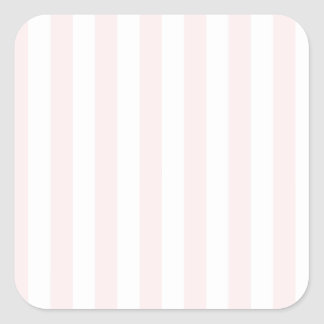 Broad Stripes - White and Pale Pink Square Sticker