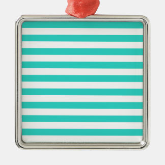 Broad Stripes - White and Turquoise Christmas Ornaments