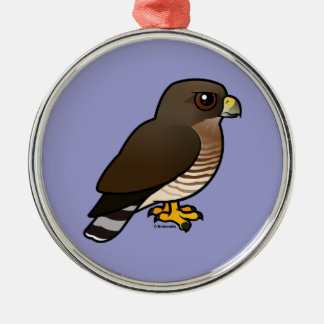 Broad-winged Hawk Silver-Colored Round Decoration