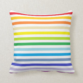 Broader Spectrum Rainbow and White Stripes Cushion