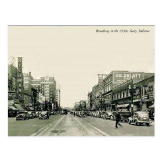 Broadway 1930s Gary, Indiana Postcard
