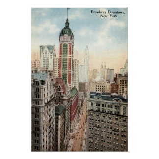 Broadway Downtown NYC Vintage 1913 Poster