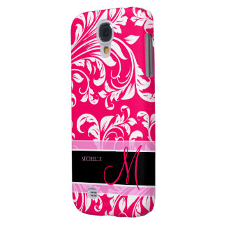 Broadway Pink and white floral damask w/ monogram Galaxy S4 Case