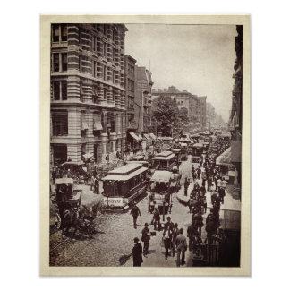 Broadway street, New York, vintage Photo Print