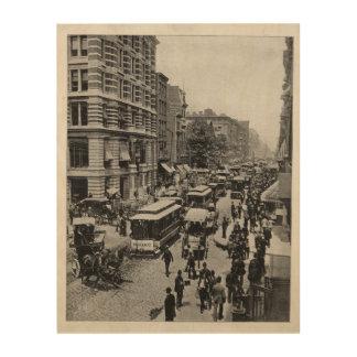 Broadway street, New York, vintage Wood Canvas