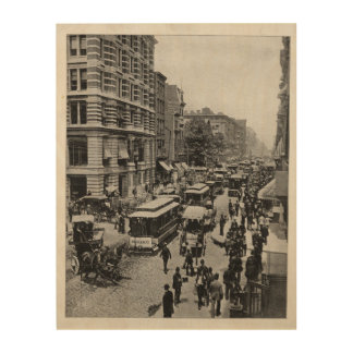 Broadway street, New York, vintage Wood Print