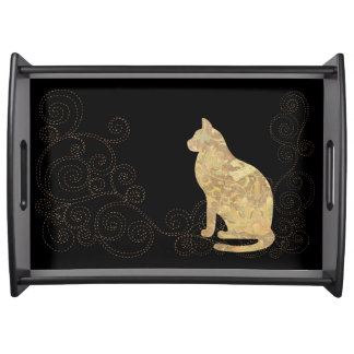 Brocade Cat with Stitches Black Serving Tray