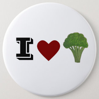 Broccoli badge, brooch 6 cm round badge