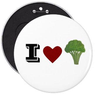 Broccoli badge, brooch 6 cm round badge