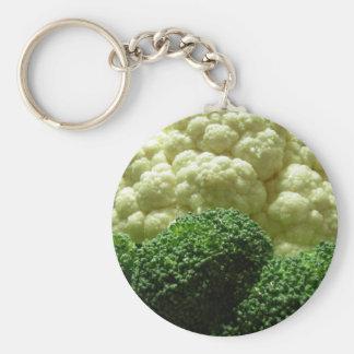 Broccoli & cauliflower basic round button key ring