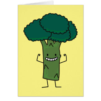 Broccoli Flexing happy tree head green vegetable Card