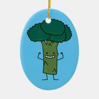 Broccoli Flexing happy tree head green vegetable Christmas Ornament
