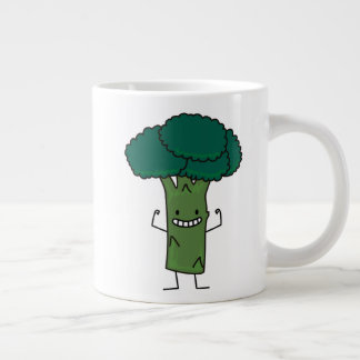 Broccoli Flexing happy tree head green vegetable Large Coffee Mug