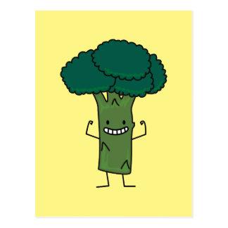 Broccoli Flexing happy tree head green vegetable Postcard
