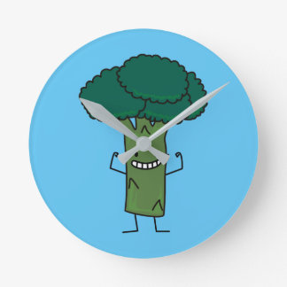 Broccoli Flexing happy tree head green vegetable Round Clock