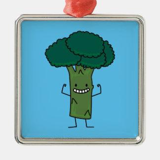 Broccoli Flexing happy tree head green vegetable Silver-Colored Square Decoration