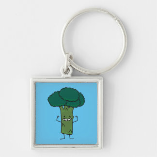 Broccoli Flexing happy tree head green vegetable Silver-Colored Square Key Ring