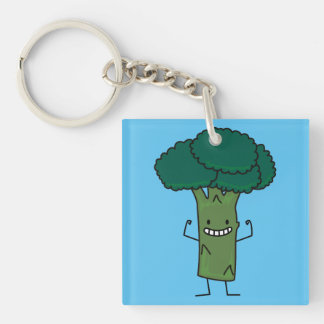 Broccoli Flexing happy tree head green vegetable Single-Sided Square Acrylic Key Ring
