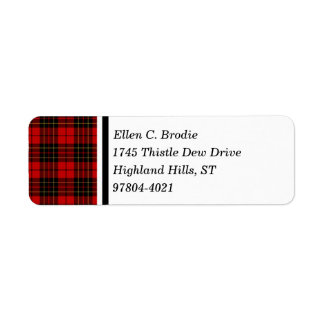 Brodie Clan Red and Black Scottish Tartan Return Address Label