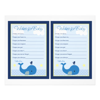Brody Whale Nautical Shower Wishes for Baby Game 21.5 Cm X 28 Cm Flyer