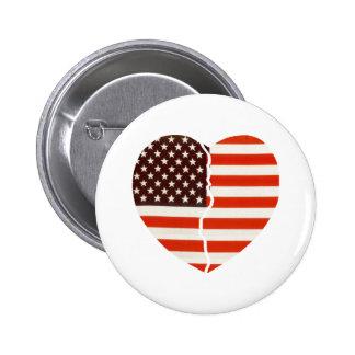 Broken American Heart 6 Cm Round Badge