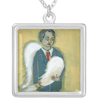 Broken Angel Man humility humanity unique art Square Pendant Necklace