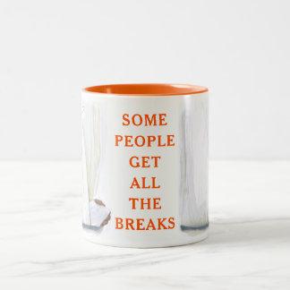 broken arm Two-Tone coffee mug