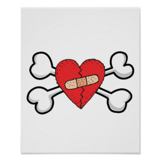 broken bandage heart Skull and Crossbones Print