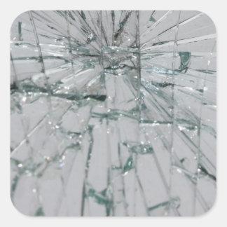 Broken Glass Background Square Sticker