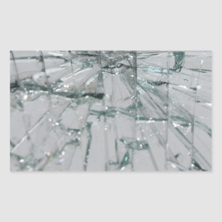 Broken Glass-Look Rectangular Sticker