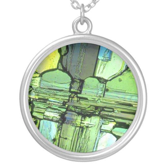 Broken Glass Necklace Art Pendant Green