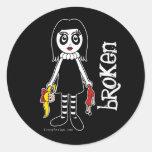 Broken Goth Doll Round Sticker