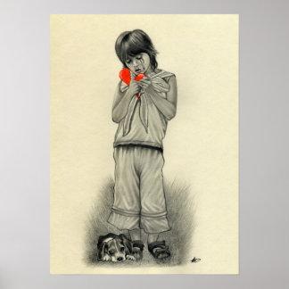 Broken Heart Boy Puppy Poster