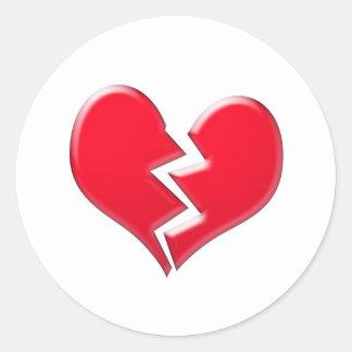 Broken heart classic round sticker