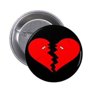 Broken Heart Face 6 Cm Round Badge
