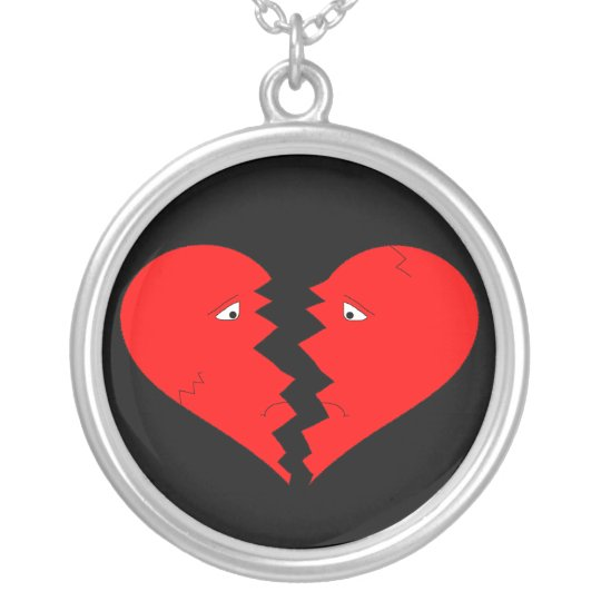 Broken Heart Face Silver Plated Necklace