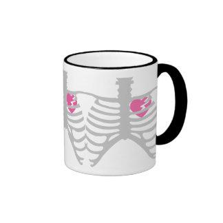 Broken Heart in Ribcage Ringer Mug