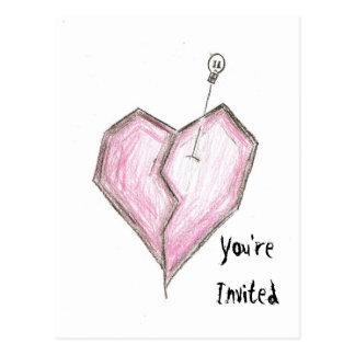 Broken Heart Skull Invitations Birthday/Any Postcard