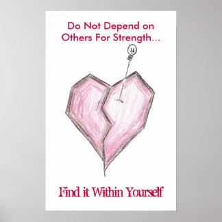 Broken Heart Skull Poster- Do not depend on... Poster