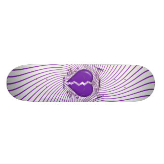 Broken Heart & Tribal Artwork: Purple: Skateboard