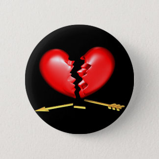 Broken heart with broken golden arrow 6 cm round badge