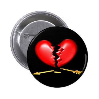 Broken heart with broken golden arrow 6 cm round badge