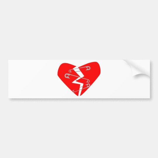 Broken Heart with Safety Pins Bumper Sticker