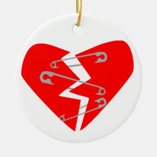 Broken Heart with Safety Pins Christmas Ornament