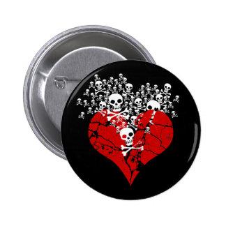 Broken Heart with Skulls 6 Cm Round Badge