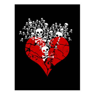 Broken Heart with Skulls Postcard