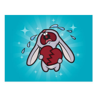 Broken Hearted Bunny (Blue) Postcard Art