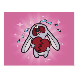 Broken Hearted Bunny (Pink) Postcard Art