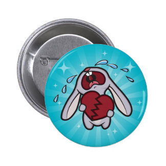 Broken Hearted Bunny with Blue Sunburst Button